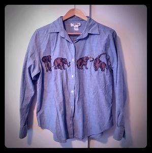 Vintage embroidered elephant button up-medium
